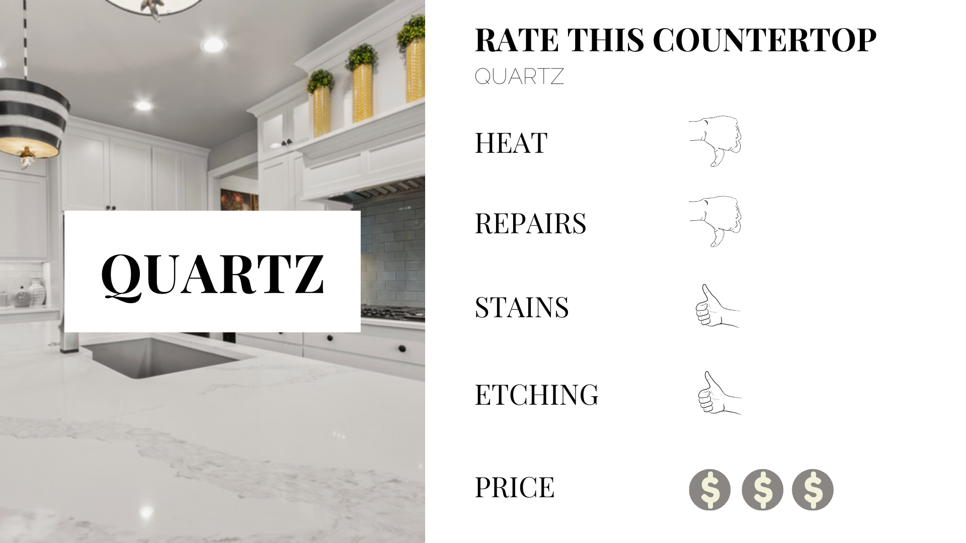 benefits to quartz kitchen counter tops